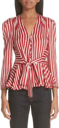 Stella McCartney Stripe Silk Peplum Blouse