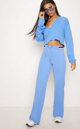 PrettyLittleThing Dusky Blue Sport Waist Drawstring Trouser