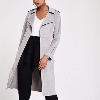 River Island Light grey faux suede longline trench jacket