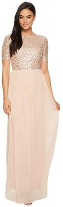 Adrianna Papell Beaded Bodice Elbow Sleeve Gown Women's Dress
