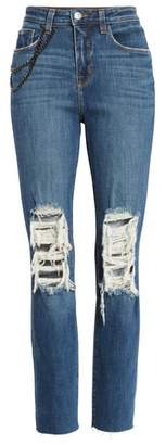 L'Agence Luna Chain Detail Ripped Skinny Jeans
