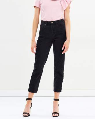 High-Waist Straight Lace Jeans