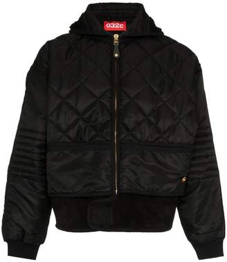 032c leather trim quilted bomber jacket