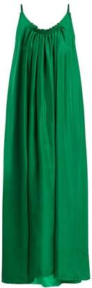 Loup Charmant - Gather Scoop Back Silk Georgette Dress - Womens - Green