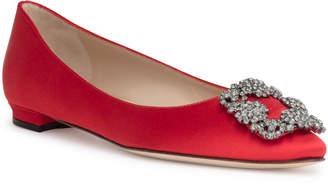 Manolo Blahnik Hangisi Flat red satin ballerina