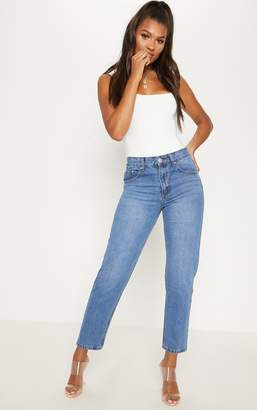 PrettyLittleThing Low Rise Boyfriend Mid Wash Jean