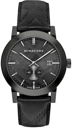 Burberry Women's Swiss Chronograph The Classic Round Black Check-Embossed Leather Strap Watch 42mm BU9906 $695 thestylecure.com