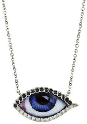 Black Diamond Lito Fine Jewelry Petit Bleu Enamel and Evil Eye Necklace - White Gold