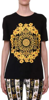Versace Short-Sleeve Crewneck Hibiscus-Print Jersey T-Shirt