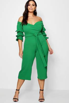 boohoo Plus Off Shoulder Tie Jumpsuit