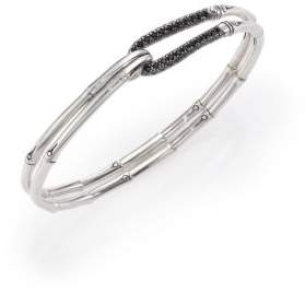 John Hardy Bamboo Sapphire& Sterling Silver Hook Bangle Bracelet