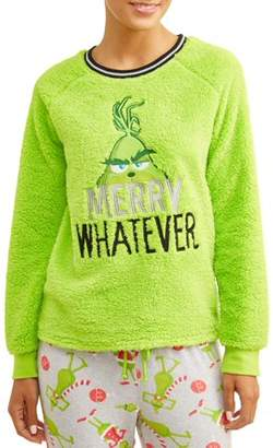 Dr. Seuss Grinch Women's and Women's Plus Merry Whatever Sherpa Top