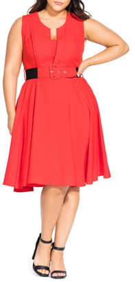City Chic Vintage Veronica Belted Pleat Fit & Flare Dress