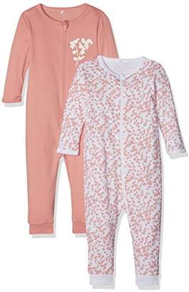 Name It Baby Girls' Nmfnightsuit 2P Zip Rose Tan Noos Sleepsuit,9-12 Months Pack of 2