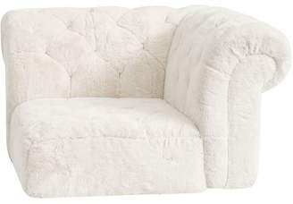 Pottery Barn Teen Cushy Roll Arm Lounge Corner Chair, Polar Bear Faux-Fur, QS UPS