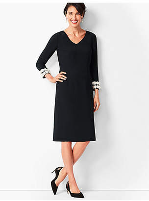 Talbots Embellished-Sleeve Crepe Shift Dress
