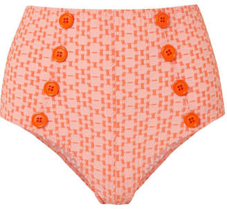 Lisa Marie Fernandez Genevieve Seersucker Bikini Briefs - Orange