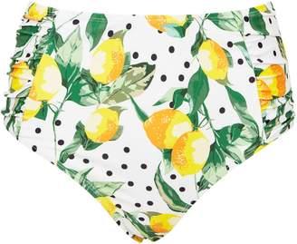 Dorothy Perkins Womens *Dp Beach White Lemon And Polka Dot Print Mid Rise Bikini Bottoms