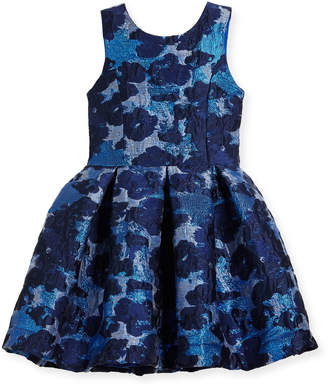 Zoe Adele Metallic Brocade Floral Dress, Size 7-16