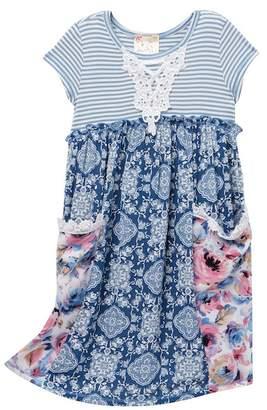 Pink Vanilla Stripe Floral Pocket Tee Dress (Toddler & Little Girls)