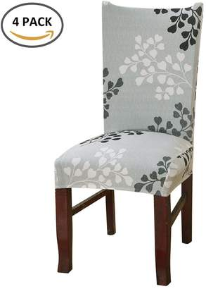 +Hotel by K-bros&Co Scorpiuse Stretch Dining Chair Covers with Printed Pattern Spandex Dining Room Chair Protector Slipcover for Hotel Dining Room Ceremony Banquet Wedding Party