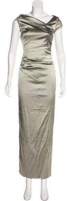 Talbot Runhof Draped Satin Dress