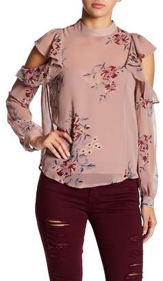 ASTR the Label Ruffle Cold Shoulder Floral Blouse