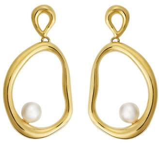Ileana Makri EYE M by Flow Dangling Pearl Hoop Earrings