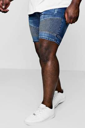boohoo Big And Tall Stretch Skinny Denim Biker Shorts