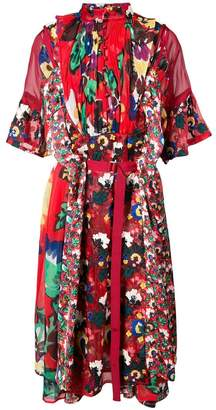 Sacai floral printed panel dress