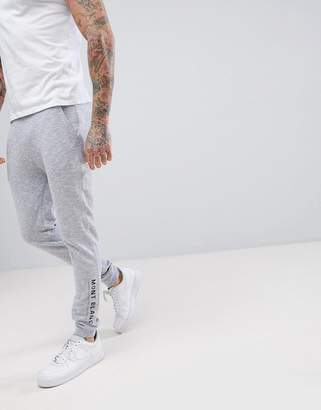 Asos Design Skinny Jogger In Nep Fabric With Leg Print