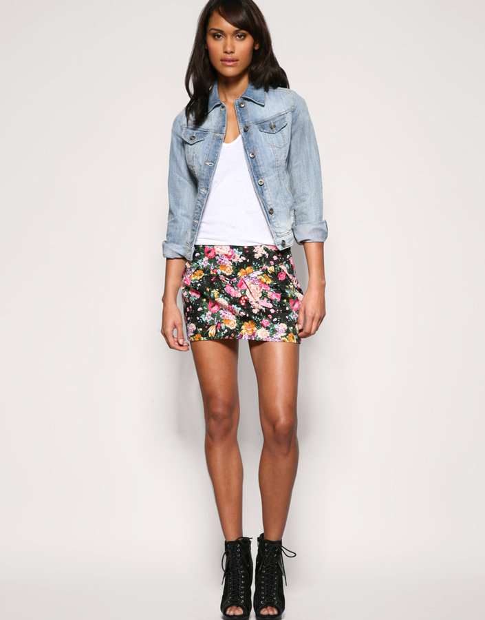 Mango Floral Tulip Mini Skirt