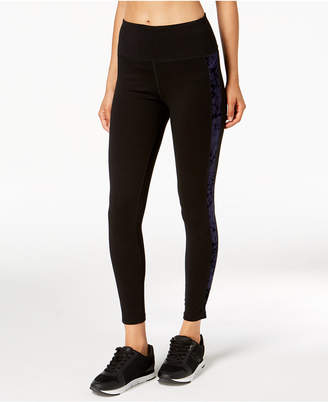 Calvin Klein Velour-Inset High-Waist Leggings