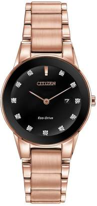 Citizen Eco-Drive Axiom Crystal-Set Black Dial Rose Gold Tone Stainless Steel Bracelet Ladies Watch