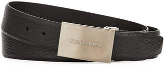 Giorgio Armani Caviar Leather Belt, Black
