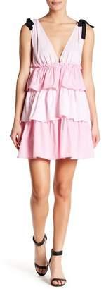 Romeo & Juliet Couture V-Neck Stripe Tiered Dress
