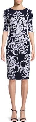 Connected Apparel Elbow Sleeve Scroll Sheath Dress