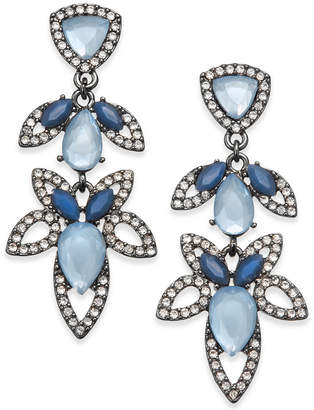 INC International Concepts I.N.C. Hematite-Tone Pavé & Blue Stone Openwork Drop Earrings, Created for Macy's