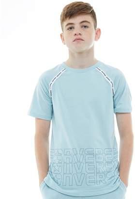 Converse Junior Boys Raglan Sport Stripe T-Shirt Ocean Bliss