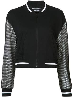 Moschino mesh sleeve bomber jacket