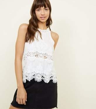 New Look White Crochet Trim Sleeveless Top
