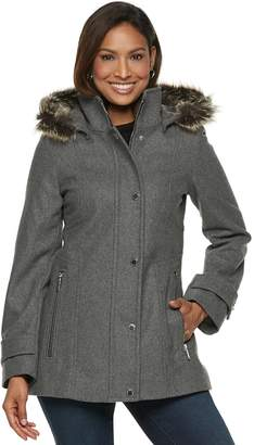 London Fog Tower By Women's TOWER by Faux-Fur Trim Wool Blend Coat