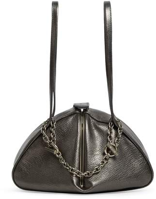 Rodo Grained Leather Top Handle Triangle Bag