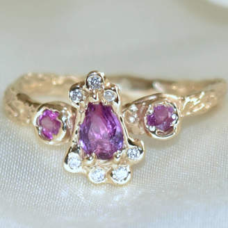 LaParra Jewels Gold Ring, Pink Sapphires And Diamonds