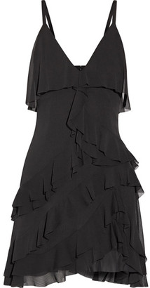 Alice + Olivia Alice Olivia - Lavinia Ruffled Crepon Mini Dress - Black $375 thestylecure.com