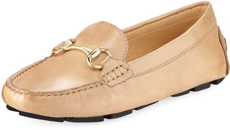 Neiman Marcus Daize Leather Flat Driver, Beige
