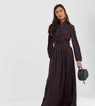 Glamorous maxi shirt dress with pleated skirt in ladybird print satin