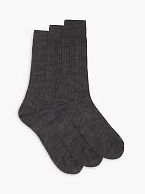 John Lewis & Partners Short Rib Socks, Pack of 3