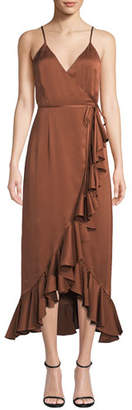 Shona Joy Oro Sleeveless Surplice Satin Wrap Dress w/ Ruffle Trim & Hem