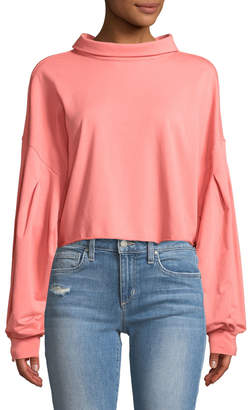 Lumie Balloon-Sleeve Tie-Back Blouse